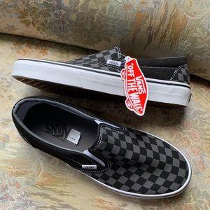 Vans Black and Gray Slip Ons